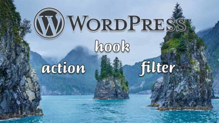 Le logo Wordpress, les textes hook, action, filter sur fond de Cove of Spires dans le parc national des Kenai Fjords en Alaska, États-Unis.